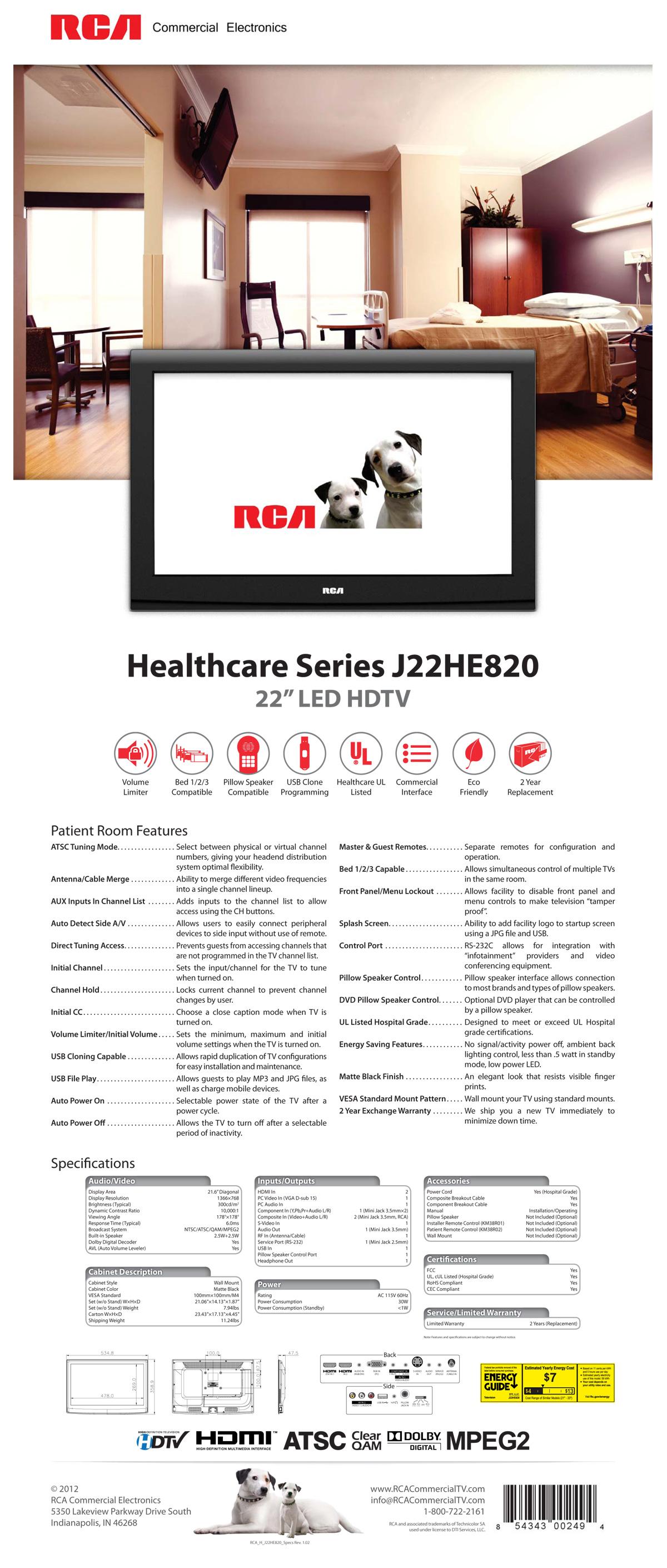 RCA Healthcare 22″ LED HDTV