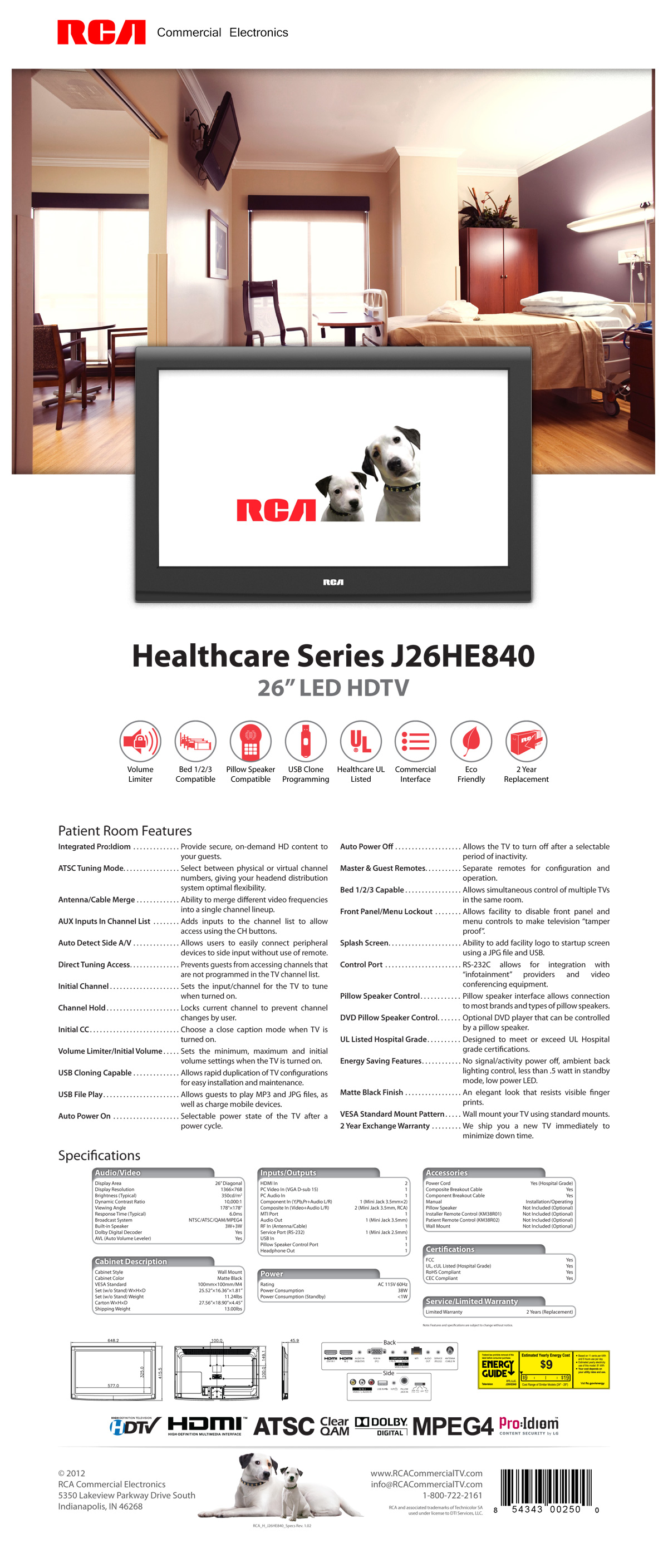 RCA Healthcare 26″ LED HDTV