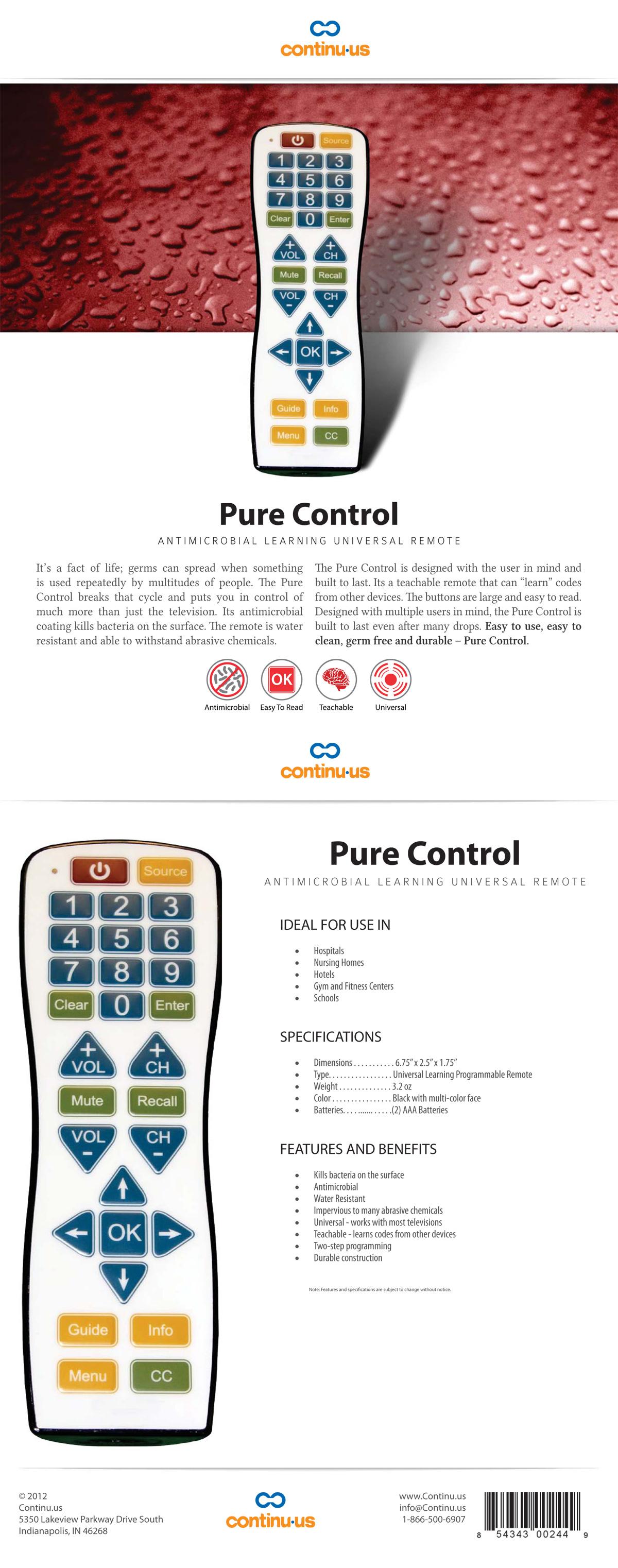 Continu.us Pure Control Spec Sheet