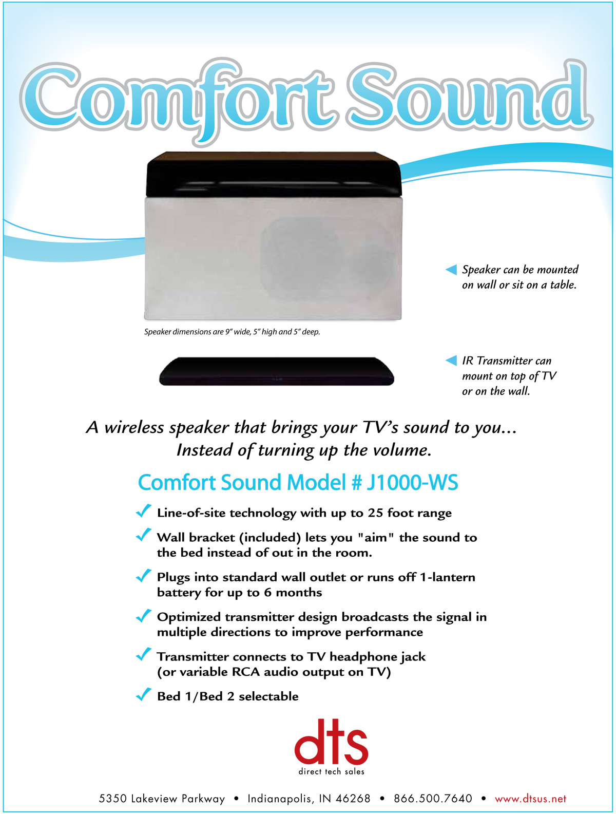 Comfort Sound Speakers Spec Sheet