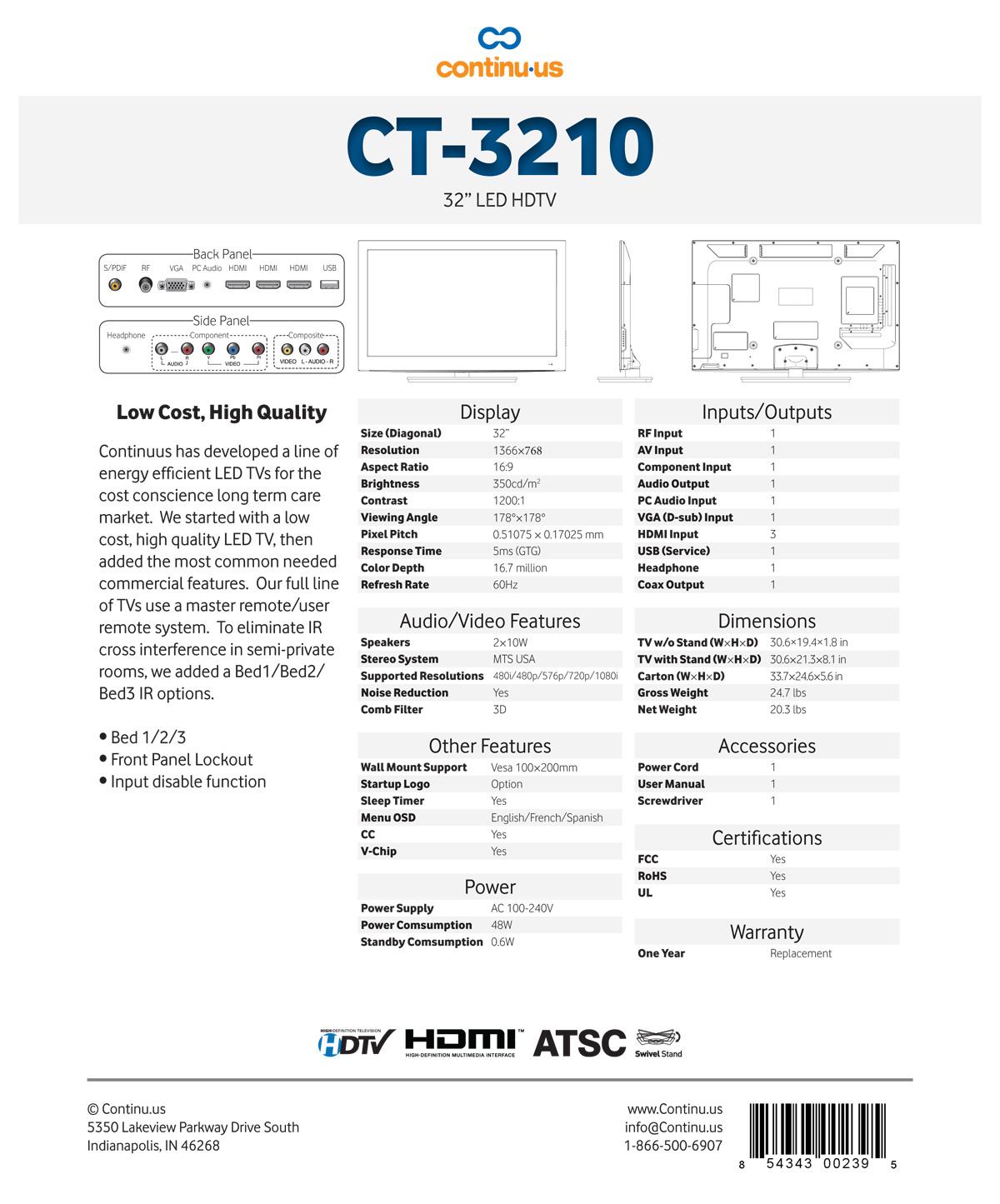 Continu.us CT3210 Spec Sheet