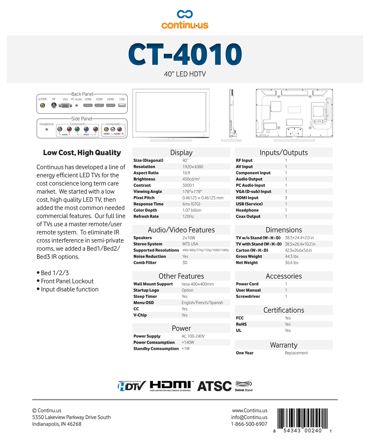Continu.us CT4010 Spec Sheet