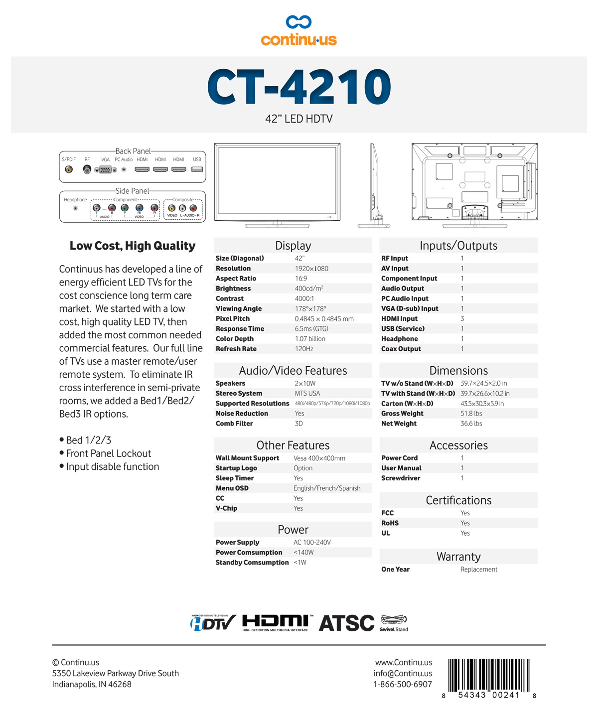 Continu.us CT4210 Spec Sheet
