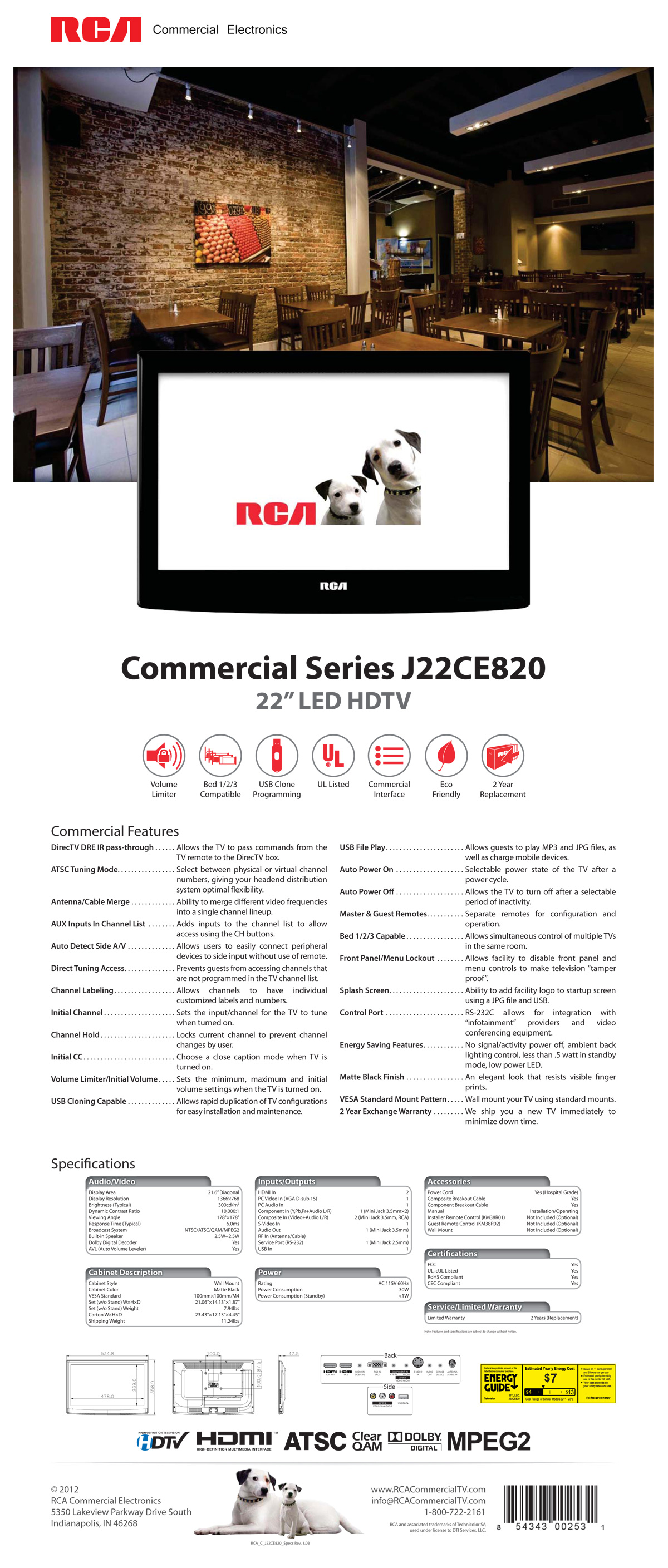 RCA Commercial Series 22″ LED HDTV Spec Sheet