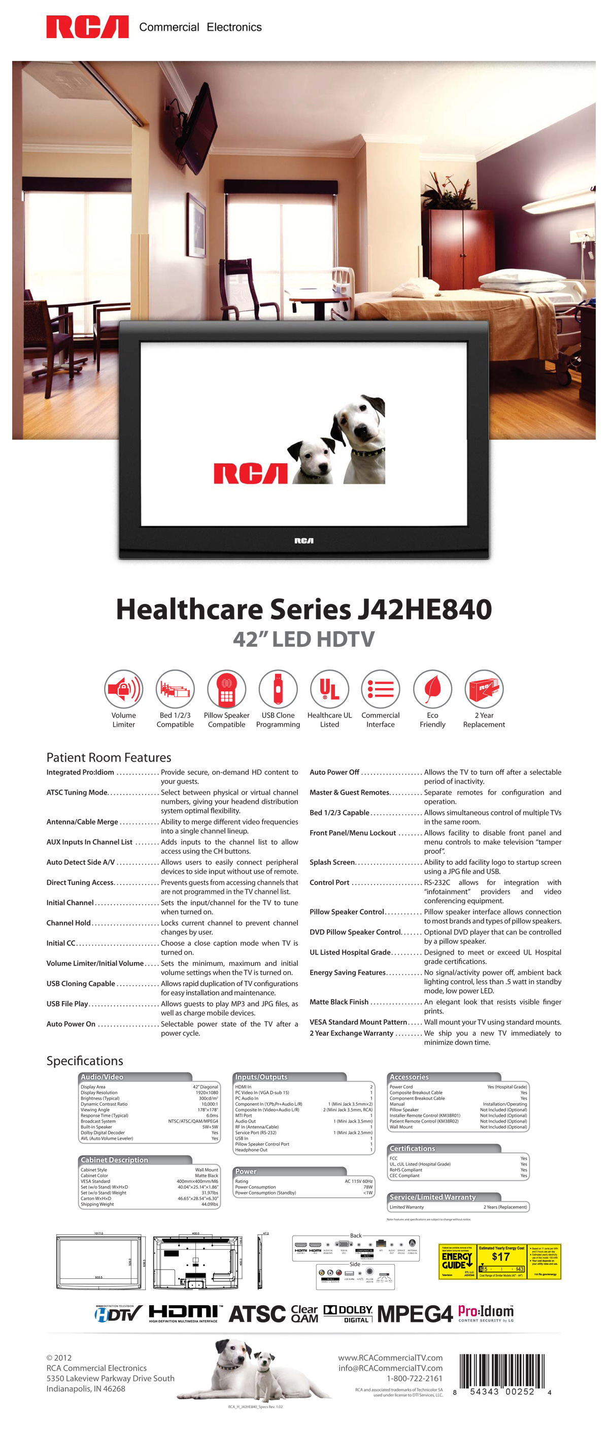 RCA Healthcare 42″ LED HDTV Spec Sheet
